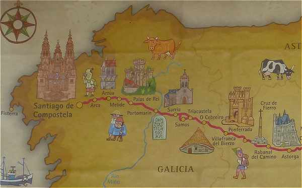 Carte du Camino Frances en Galice