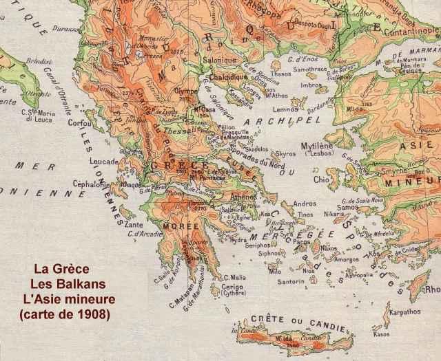 Carte physique des Balkans