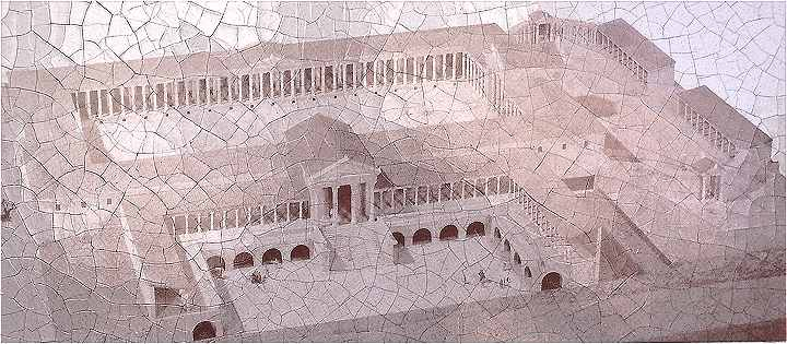 Reconstitution du Forum d'Arelate (Arles), au centre, au premier plan, un Temple