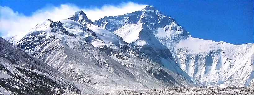 Panorama sur la face Nord du Mont Everest