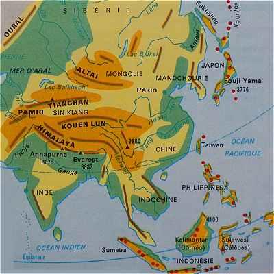 Carte Du Sud Est De Linde.L Asie Du Sud Est Japon Chine