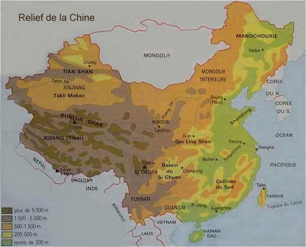 Carte Geographique Chine Sud.L Asie Du Sud Est Japon Chine